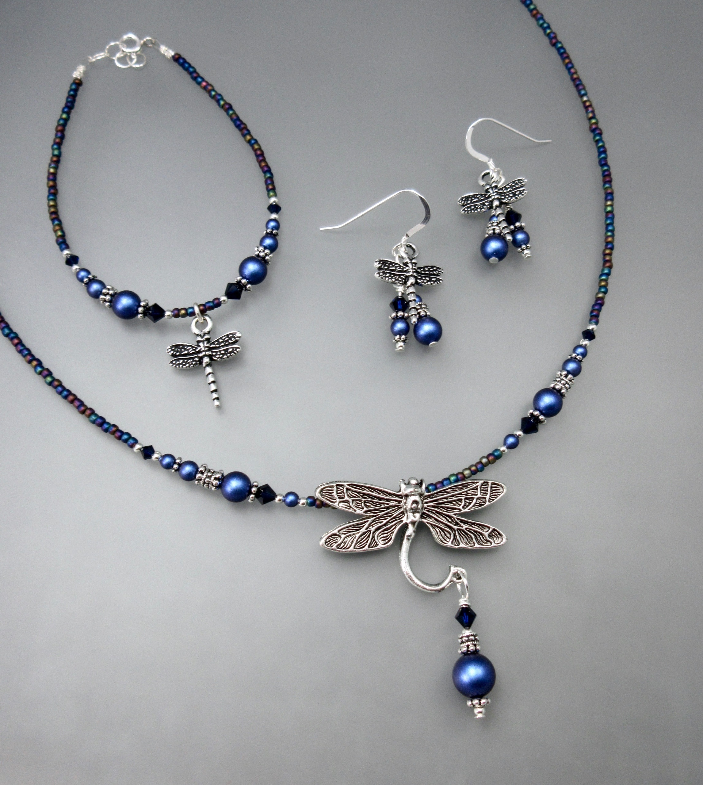necklace brusinenko butterfly weaving marina blue silver online wings knitting shop on jevelry bead item