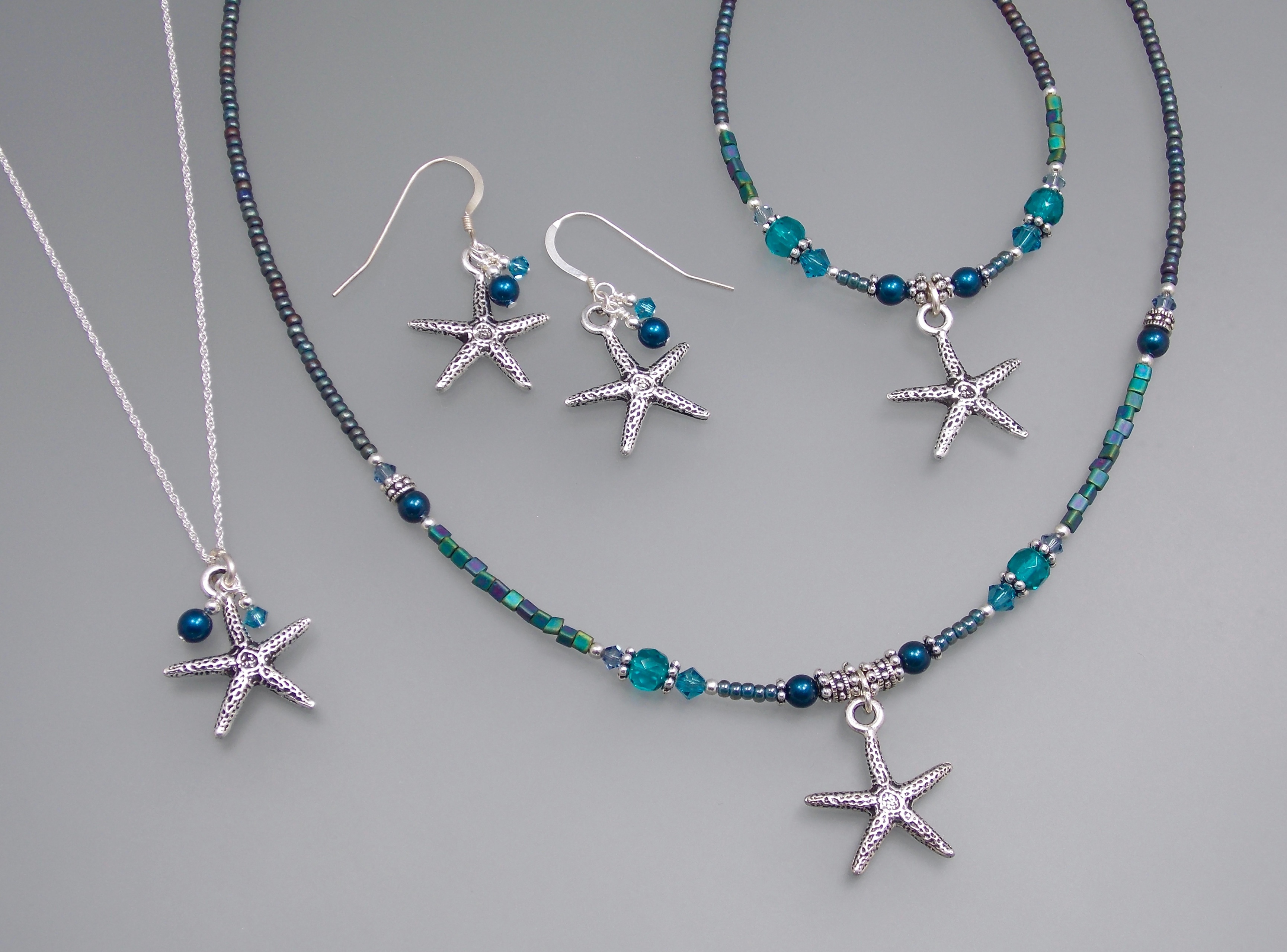 Star Necklace Beaded Necklace Blue Necklace Blue Star Necklace Blue Glass Necklace